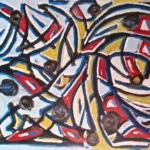 41 Napoleon and Marengo. Acrylic on wood.75 x 50 cm. €350