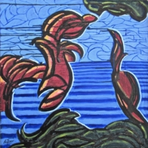 38 On the Beach. Acrylic on canvas, 100 cm square. €550